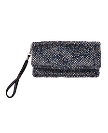 Mix Crystal Mesh Fold Over Wristlet