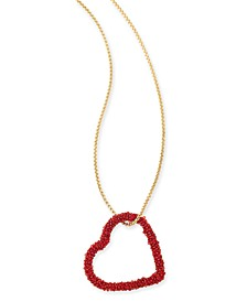 "INC Gold-Tone Beaded Heart Pendant Necklace, 34"" + 3"" extender, Created For Macy's"