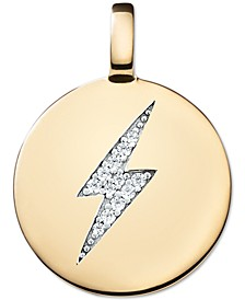 Swarovski Zirconia Lightening Bolt Charm Pendant in 14k Gold-Plated Sterling Silver