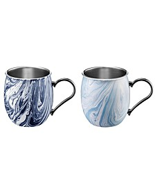 20oz Navy and Light Blue Swirl Moscow Mule Mugs - Set of 2