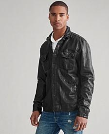 Men's Leather CPO Shirt Jacket