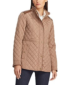 Faux-Leather-Trim Quilted Jacket, Created For Macy's