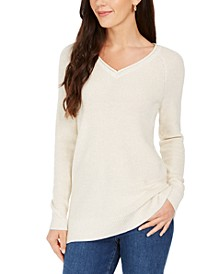 Lurex V-Neck Sweater, Created For Macy's