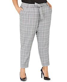 Plus Size Plaid Tie-Waist Pants
