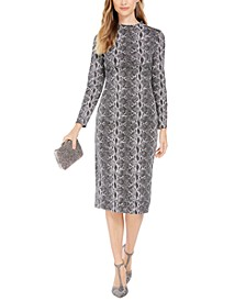 INC Snake-Embossed Sheath Midi Dress, Created For Macy's