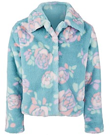 Big Girls Rose-Print Faux-Fur Jacket, Created For Macy's