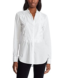 Petite Pleated-Bib Button-Up Shirt
