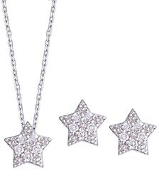 Diamond 1/4 ct. t.w. Star Pendant Necklace and Stud Earrings set in Sterling Silver