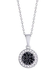 Black and White Diamond 1/4 ct. t.w. Round Pendant Necklace in Sterling Silver