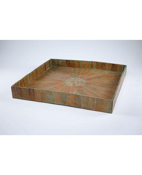 My Zen Home Kenchuto Rustic Teak Wood Serving Tray