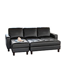 Jagger Tufted Leather Sectional & Ottoman