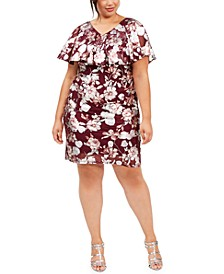 Plus Size Floral-Print Flounce Sheath Dress, Created for Macy's