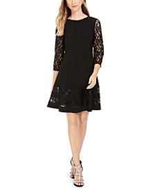 Petite Sequined Lace-Sleeve Dress