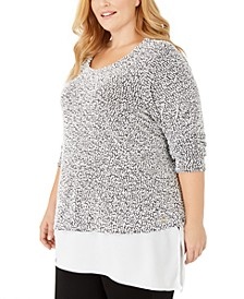 Plus Size Asymmetric Mixed-Materials Top