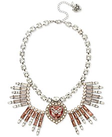 """Silver-Tone Crystal & Imitation Pearl Bow Heart Statement Necklace, 16"""" + 3"""" extender"""
