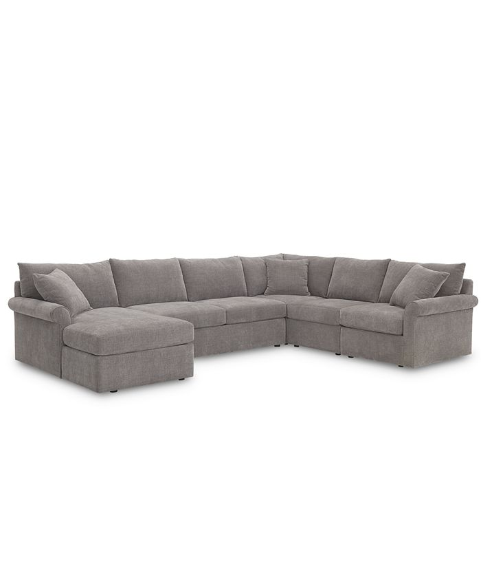 Furniture - Wedport 5-Pc. Fabric Modular Chaise Sectional Sofa with Square Corner Piece