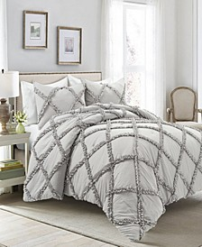 Ruffle Diamond 3-Piece Full/Queen Comforter Set