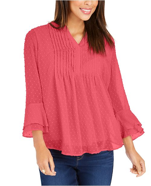 Charter Club Double-Ruffle Textured Pintuck Top, In Regular and Petite, Created for Macy's