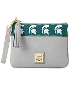 Michigan State Spartans Saffiano Stadium Zip Wristlet