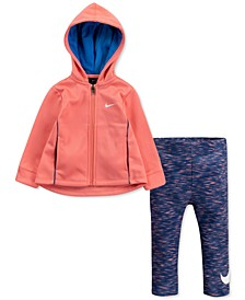 Baby Girls 2-Pc. Therma Fleece Zip Hoodie & Dri-FIT Leggings Set