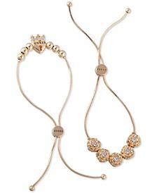 Gold-Tone 2-Pc. Set Crystal Flower & Heart Crown Slider Bracelets