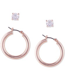 "2-Pc. Set Cubic Zirconia Stud & Tubular Small Hoop Earrings, 1"""