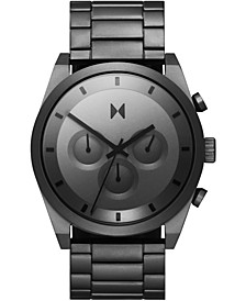 Men's Chronograph Carbon Gray Gunmetal Ion-Plated Steel Bracelet Watch 44mm