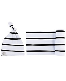 """Baby Boys and Girls Bambini Jersey Cotton Spandex Swaddle Blankets with Baby Knot Hat, 40"""" x 40"""""""