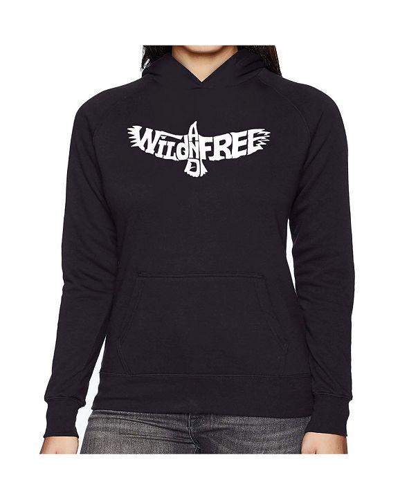 LA Pop Art Women's Word Art Hooded Sweatshirt -Wild And Free Eagle