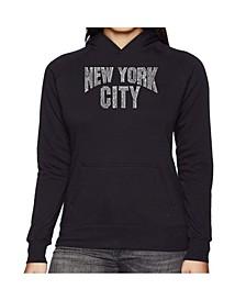 Women's Word Art Hooded Sweatshirt -Nyc Neighborhoods
