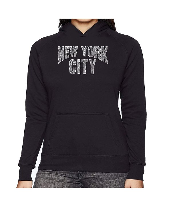 LA Pop Art Women's Word Art Hooded Sweatshirt -Nyc Neighborhoods