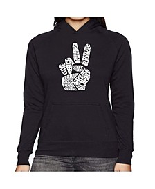 Women's Word Art Hooded Sweatshirt -Peace Fingers