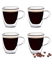 Epare 2 Oz Double-Wall Espresso Cups with Handle- Set of 4