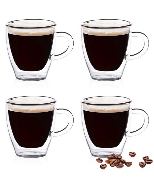 Epare Epare 2 Oz Double-Wall Espresso Cups with Handle- Set of 4