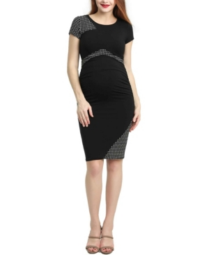 Kimi + Kai Gabby Maternity Colorblock Midi Dress