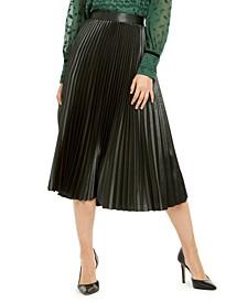 Sue Pleated Satin Midi Skirt