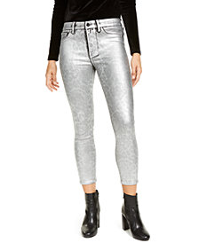 Jen7 by 7 For All Mankind Shiny Animal Print Skinny Jeans