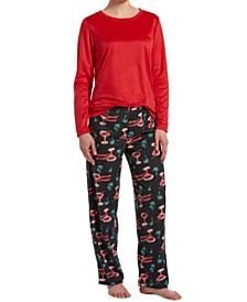 Sueded Fleece Top & Printed Pants Holiday Pajama Set