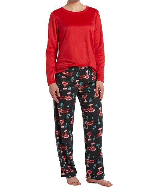 Hue Sueded Fleece Top & Printed Pants Holiday Pajama Set