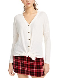 Juniors' Waffle-Knit Tie-Front Top