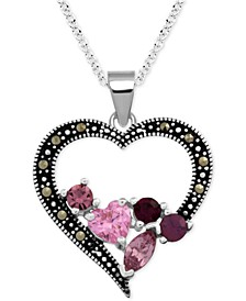 "Genuine Swarovski Marcasite & Crystal Cluster Heart 18"" Pendant Necklace in Fine Silver-Plate"