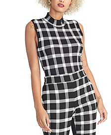 Plaid Open-Back Mockneck Top