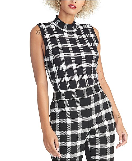 RACHEL Rachel Roy Plaid Open-Back Mockneck Top