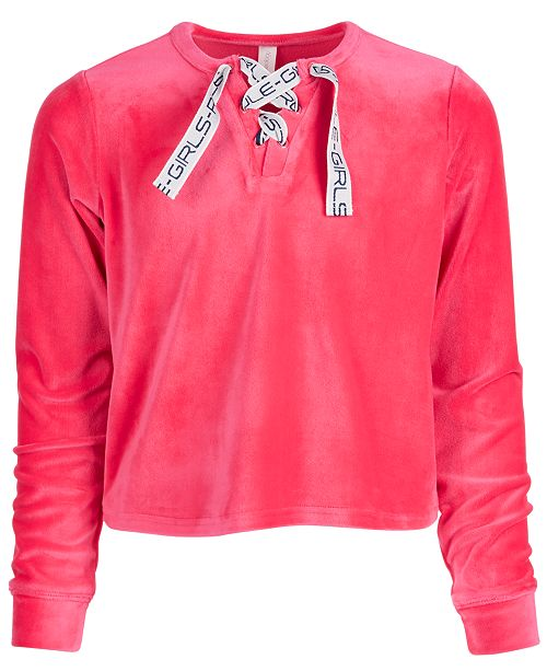 Ideology Big Girls Lace-Up Velour Sweatshirt, Created For Macy's