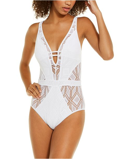 Becca Colorplay Crochet Plunge One-Piece Swimsuit