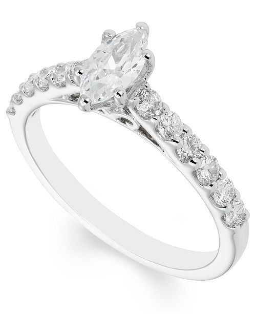 Macy's Certified Diamond (1 ct. t.w.) Engagement Ring in 14k White Gold