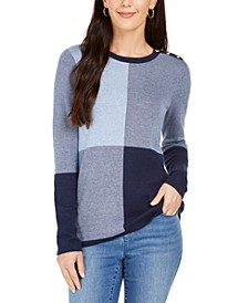 Colorblocked Button-Shoulder Sweater, Created For Macy's
