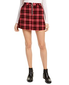 Juniors' Plaid Corduroy Mini Skirt