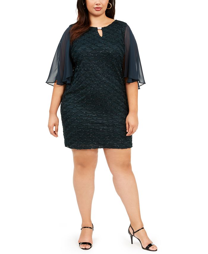 Connected - Plus Size Capelet Sheath Dress