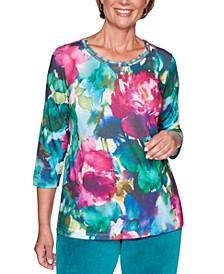 Petite Bright Idea Floral Print Top